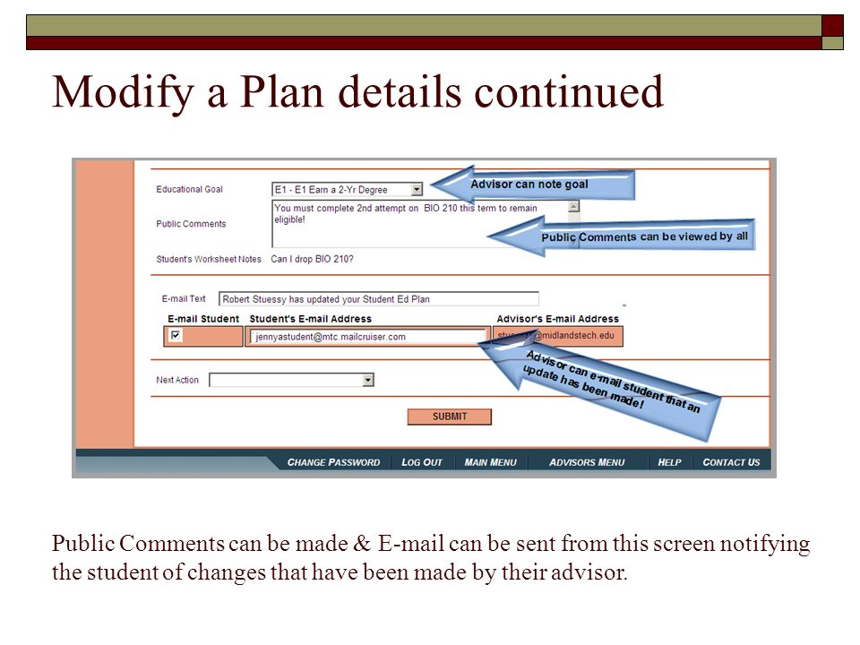 Modify a Plan details continued