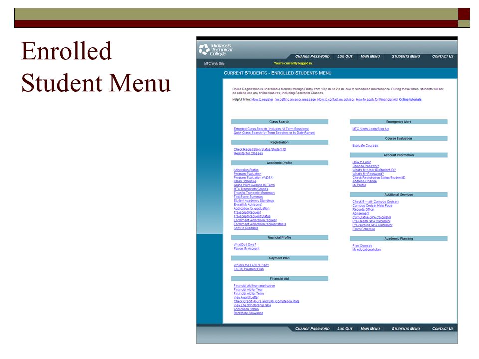 Enrolled Student Menu