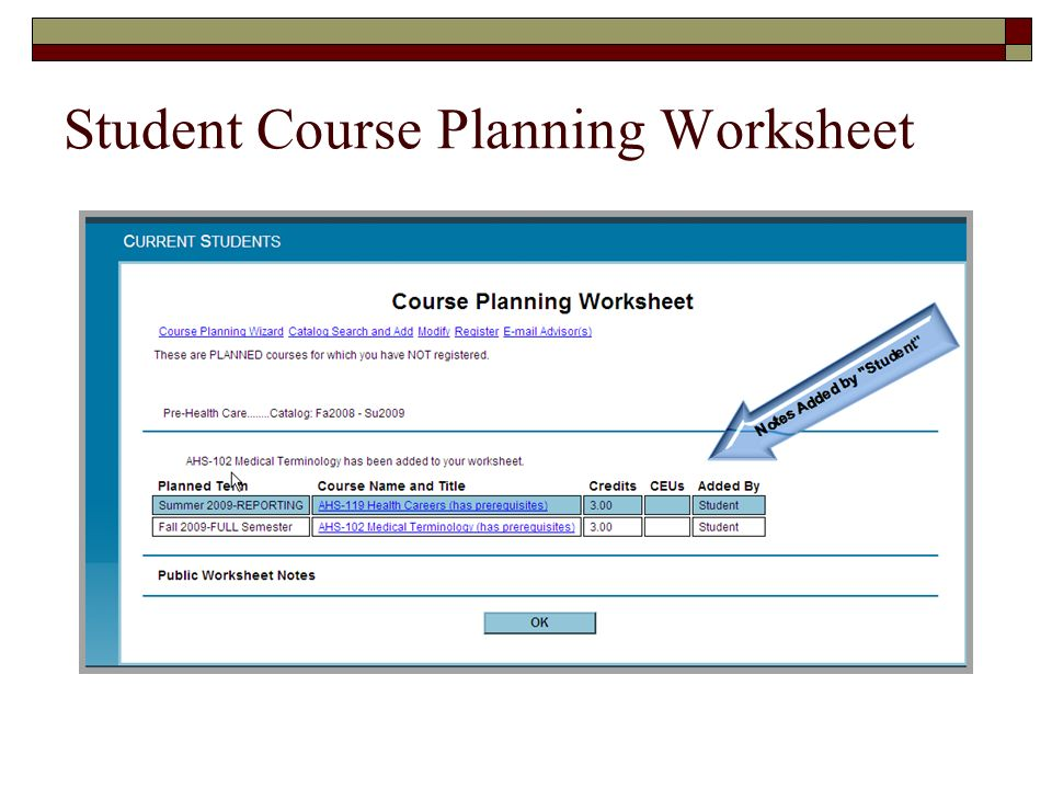 Student Course Planning Worksheet
