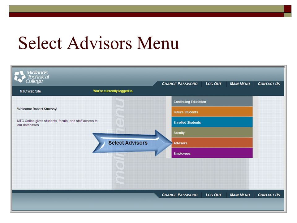 Select Advisors Menu