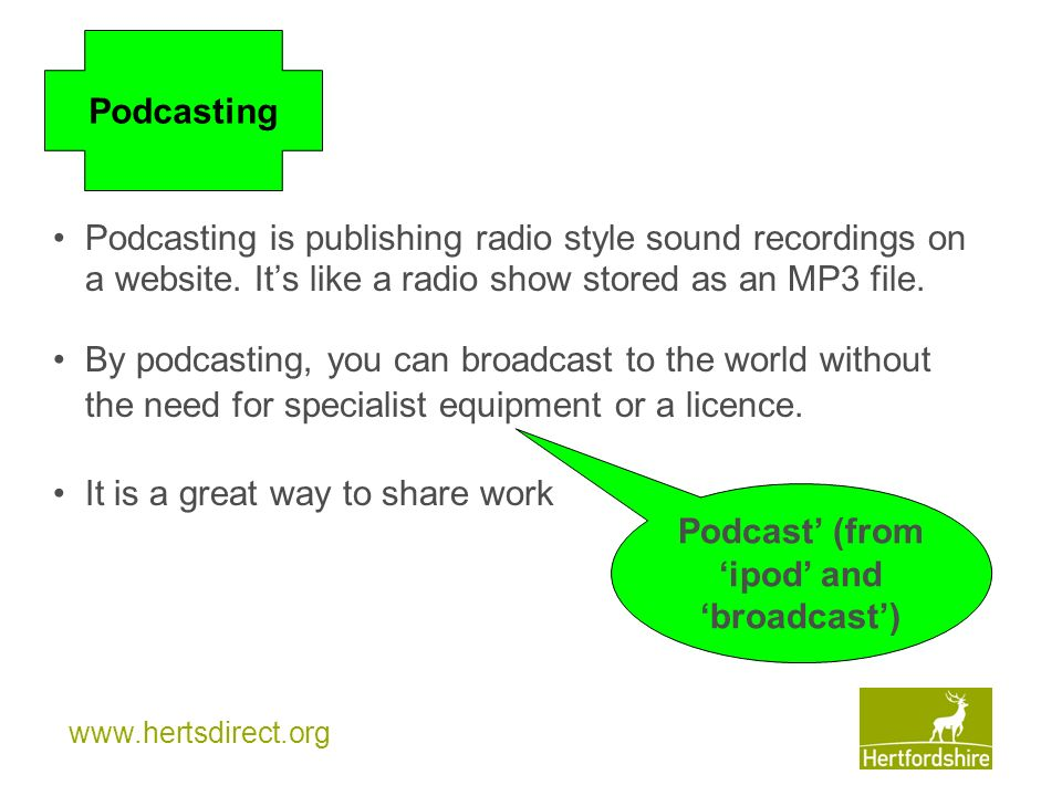 Podcast' (from 'ipod' and 'broadcast')