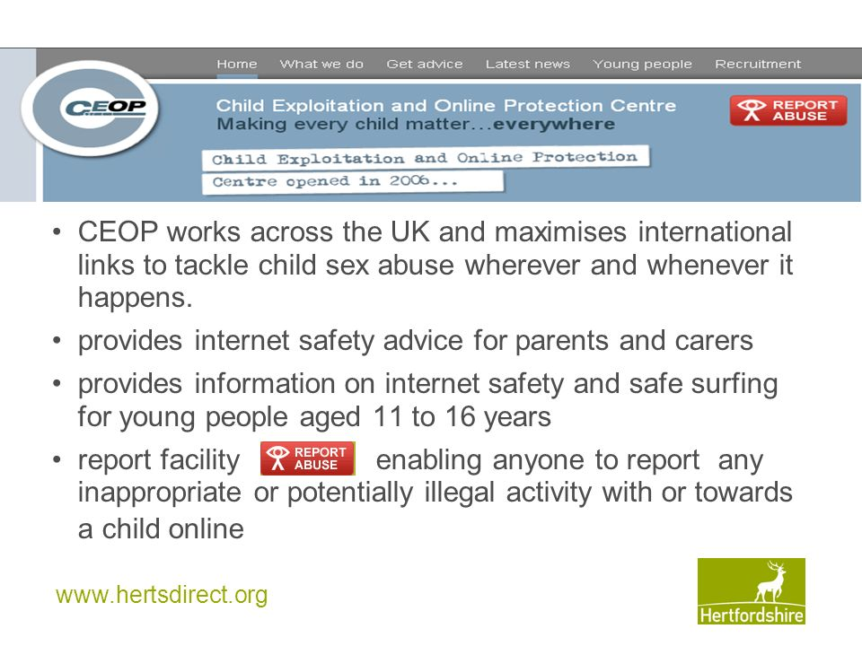 provides internet safety advice for parents and carers
