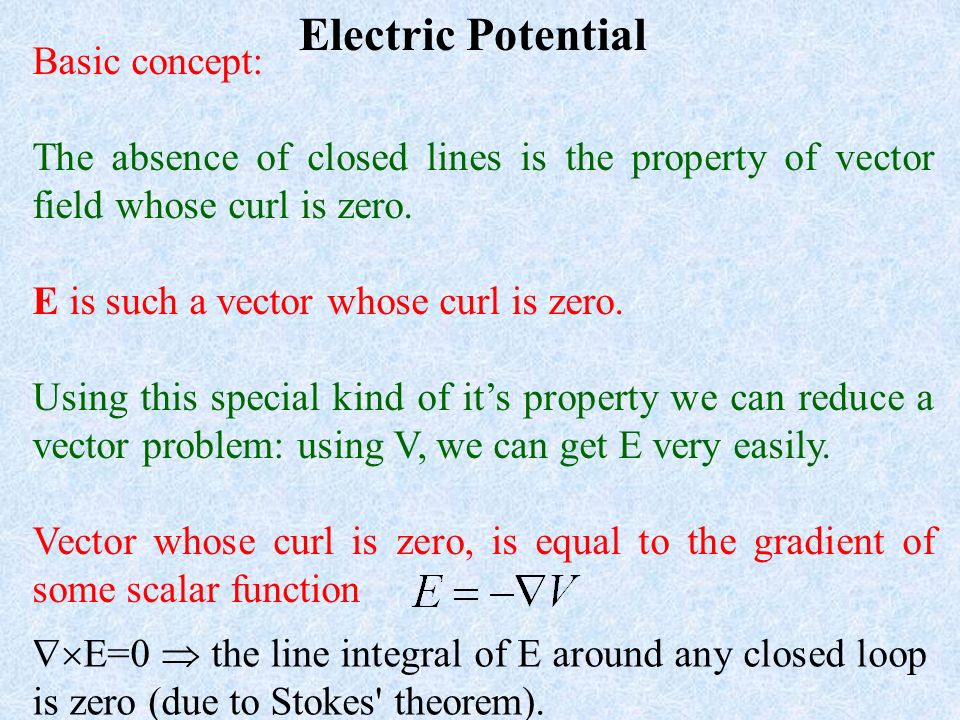 Electric Potential Basic concept: