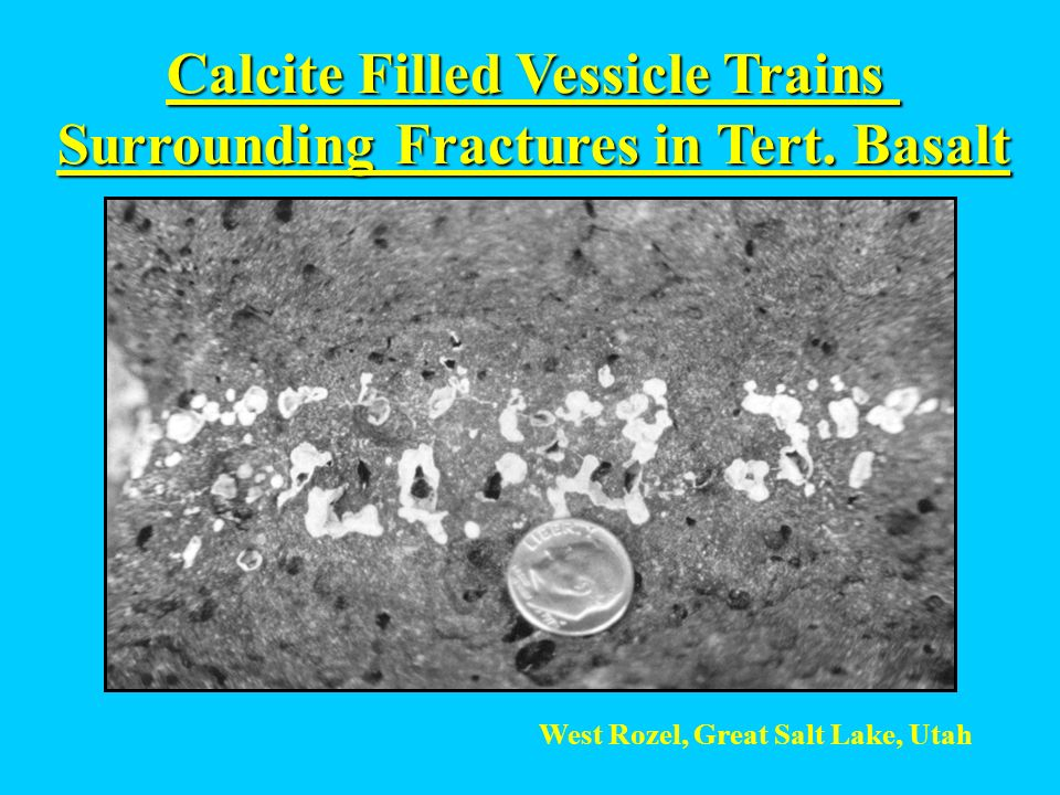 Calcite Filled Vessicle Trains Surrounding Fractures in Tert. Basalt