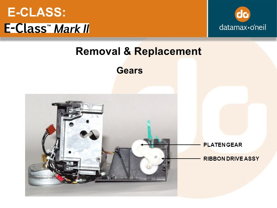 E-CLASS: Removal & Replacement Gears PLATEN GEAR RIBBON DRIVE ASSY