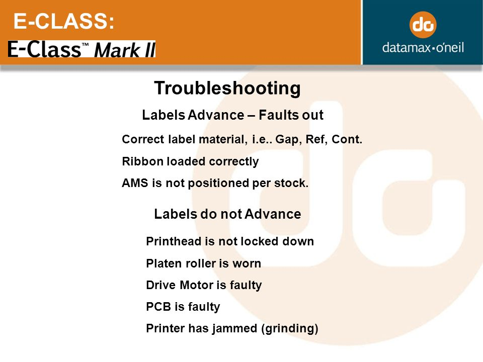 E-CLASS: Troubleshooting Labels Advance – Faults out