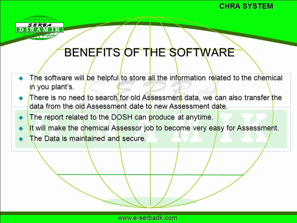BENEFITS OF THE SOFTWARE