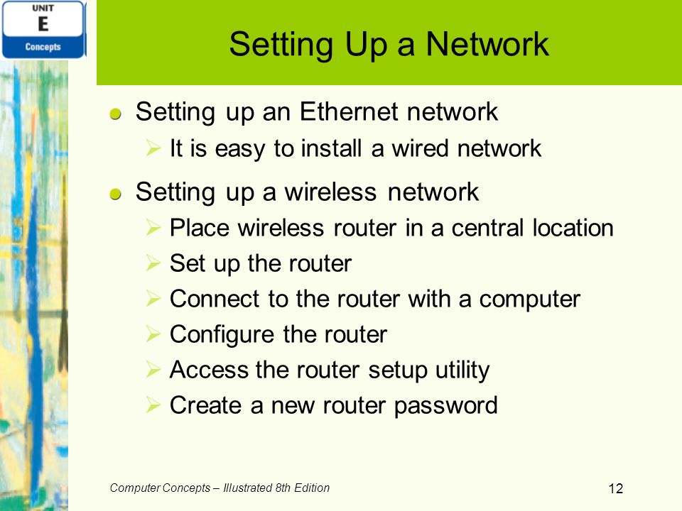 Setting Up a Network Setting up an Ethernet network