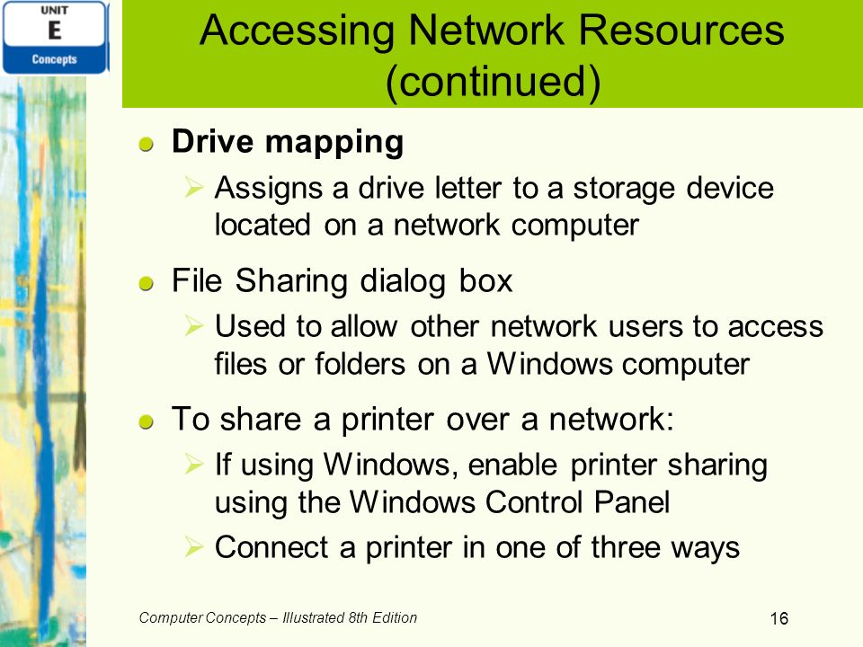 Accessing Network Resources (continued)