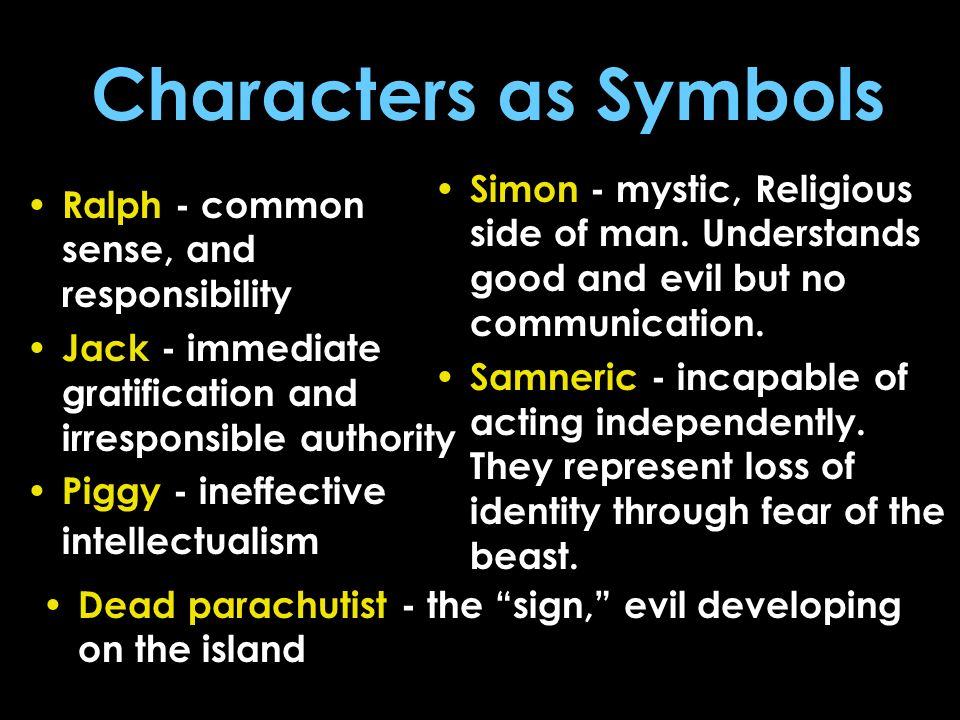 Characters as Symbols Simon - mystic, Religious side of man. Understands good and evil but no communication.