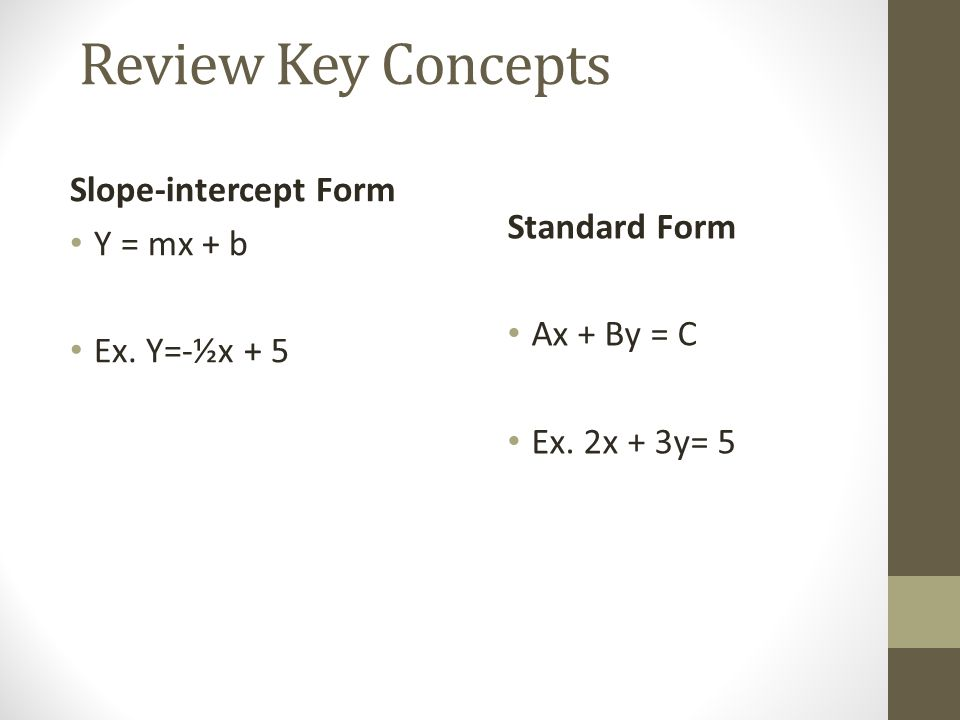 Review Key Concepts Slope-intercept Form Y = mx + b Standard Form