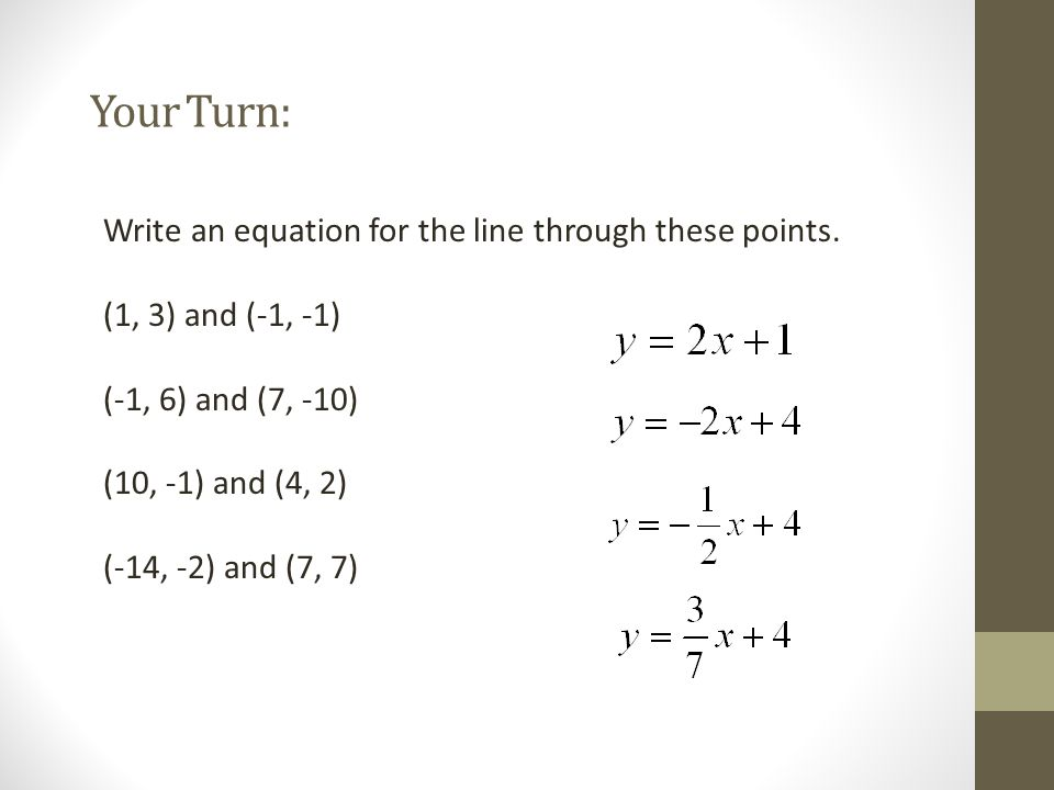 Your Turn: Write an equation for the line through these points.