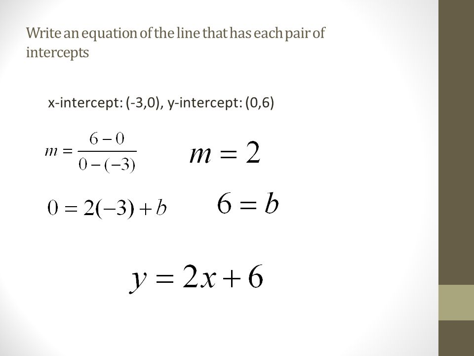 Write an equation of the line that has each pair of intercepts