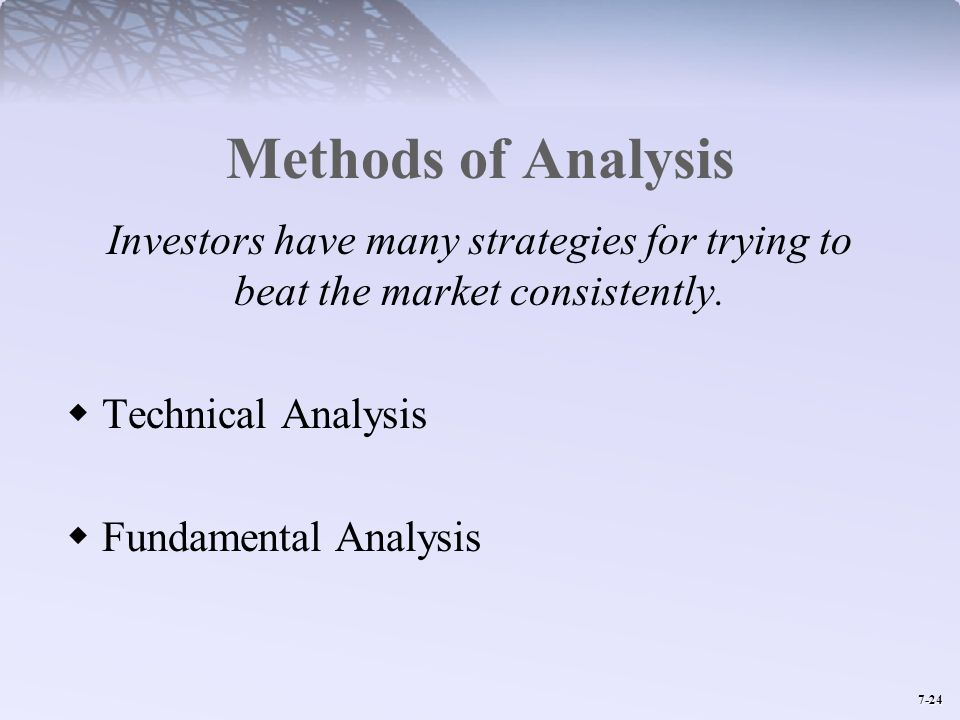 Methods of Analysis Investors have many strategies for trying to beat the market consistently. Technical Analysis.