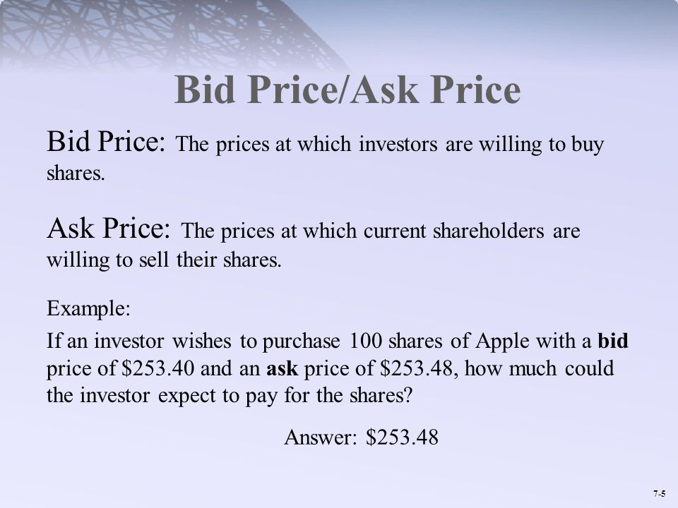 Bid Price/Ask Price Bid Price: The prices at which investors are willing to buy shares.