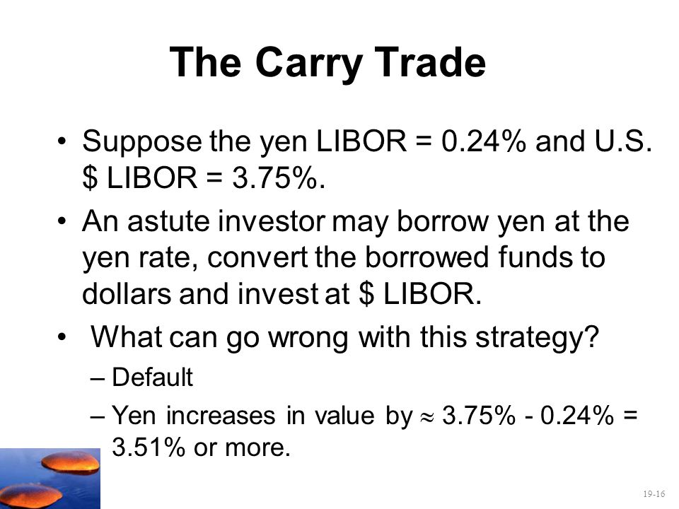 The Carry Trade Suppose the yen LIBOR = 0.24% and U.S. $ LIBOR = 3.75%.