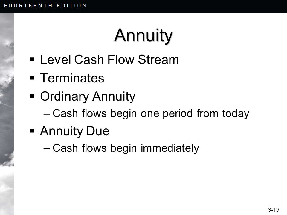 Annuity Level Cash Flow Stream Terminates Ordinary Annuity Annuity Due