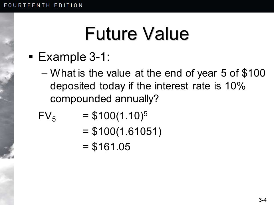 Future Value Example 3-1: FV5 = $100(1.10)5