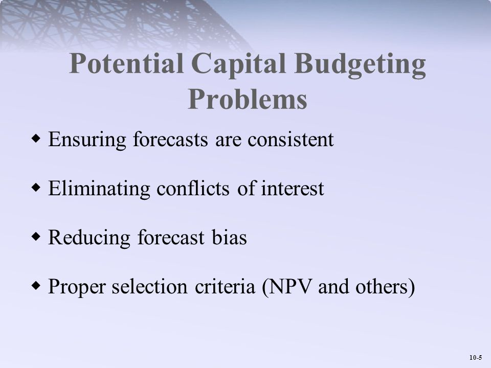 Potential Capital Budgeting Problems