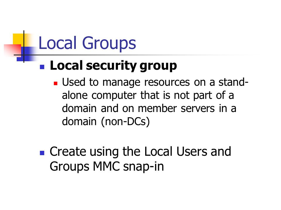 Local Groups Local security group
