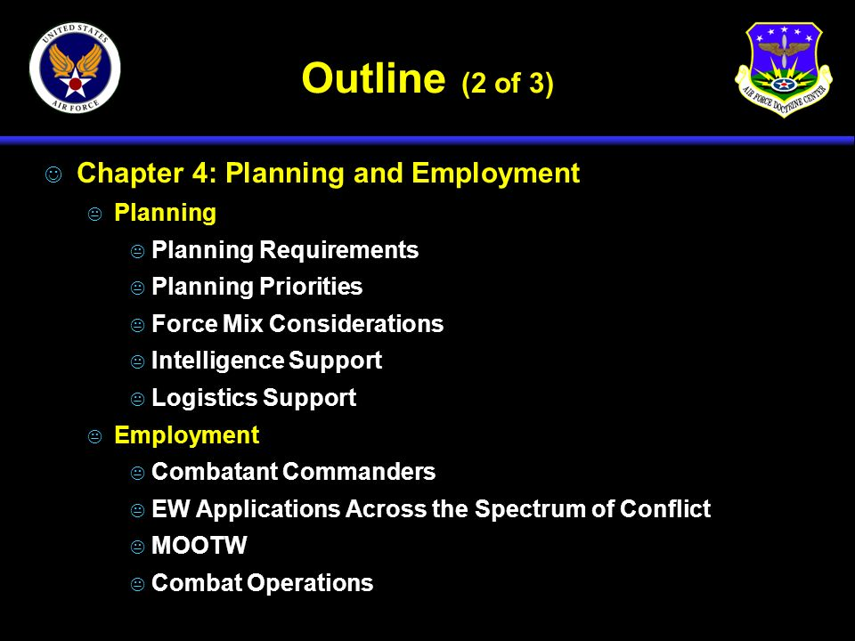 Outline (2 of 3) Chapter 4: Planning and Employment Planning