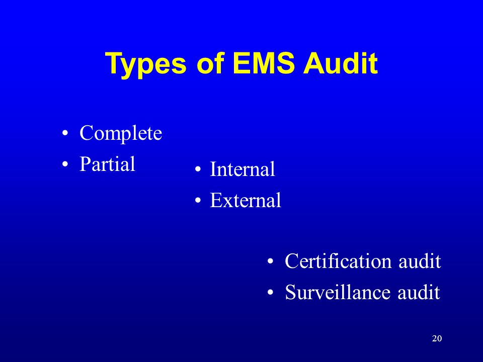 Types of EMS Audit Complete Partial Internal External