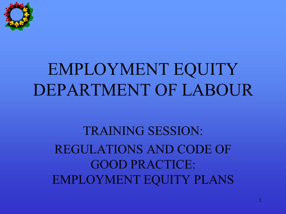 EMPLOYMENT EQUITY DEPARTMENT OF LABOUR