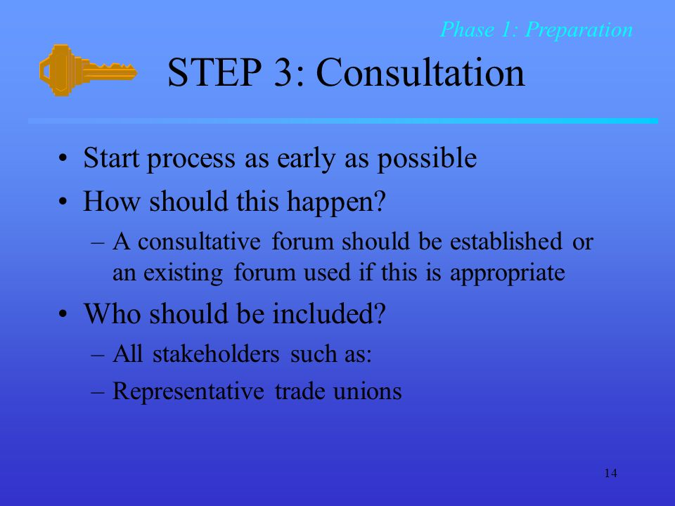 STEP 3: Consultation Start process as early as possible
