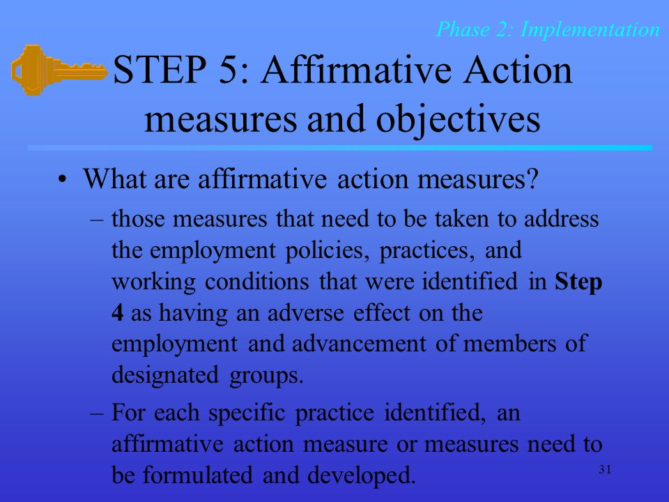 STEP 5: Affirmative Action measures and objectives