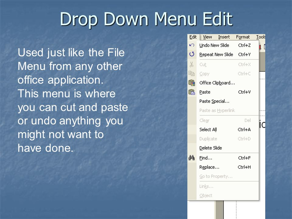Drop Down Menu Edit