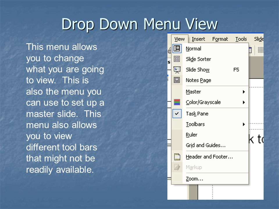 Drop Down Menu View