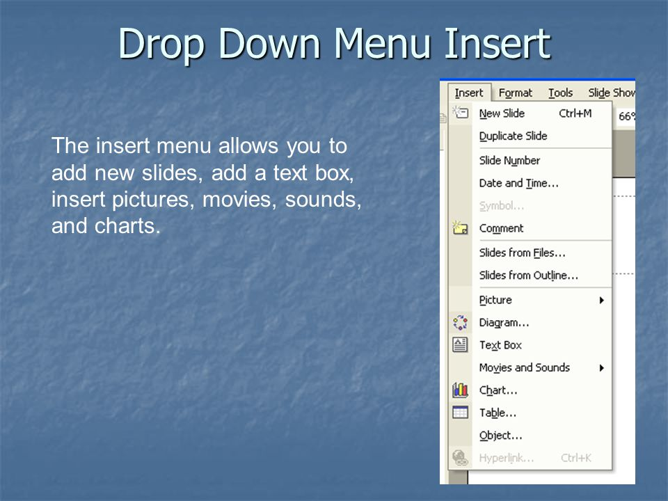 Drop Down Menu Insert The insert menu allows you to add new slides, add a text box, insert pictures, movies, sounds, and charts.