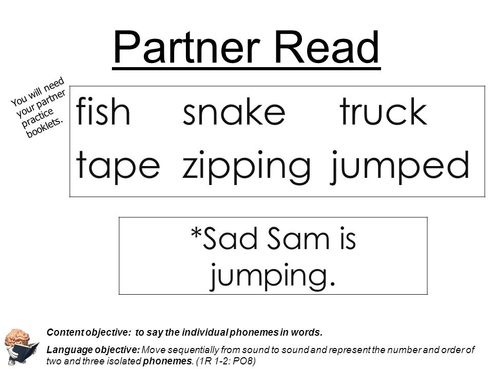Partner Read fish snake truck tape zipping jumped *Sad Sam is jumping.