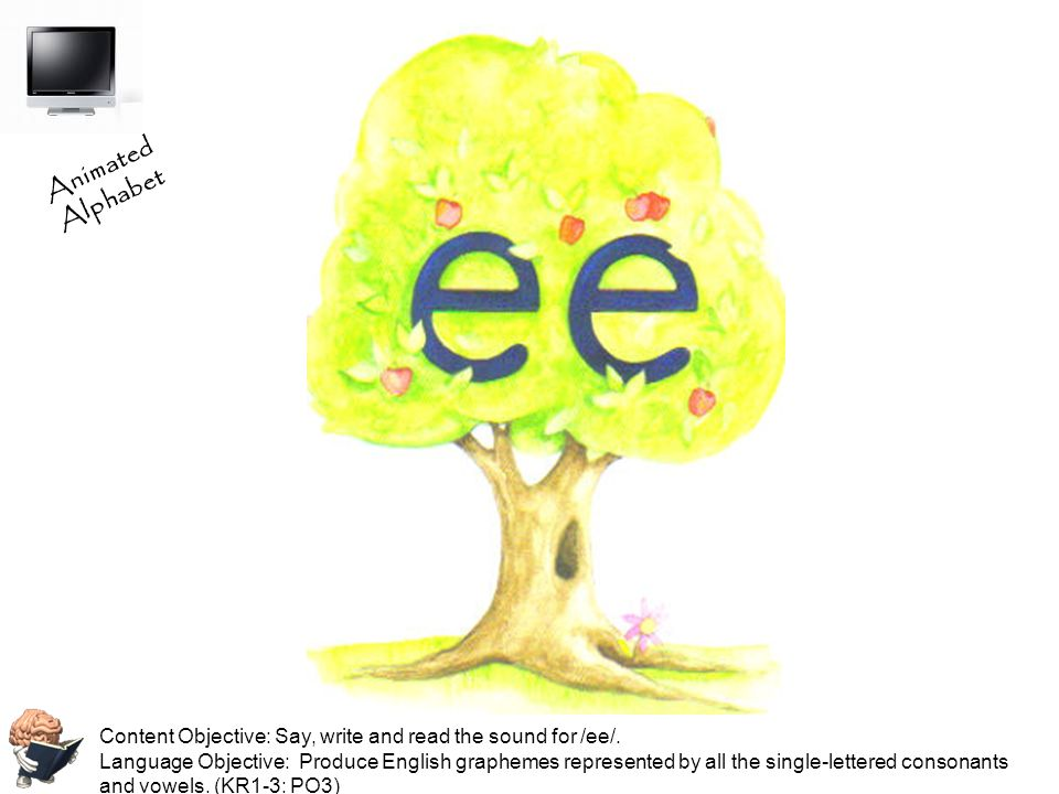 Animated Alphabet Content Objective: Say, write and read the sound for /ee/.