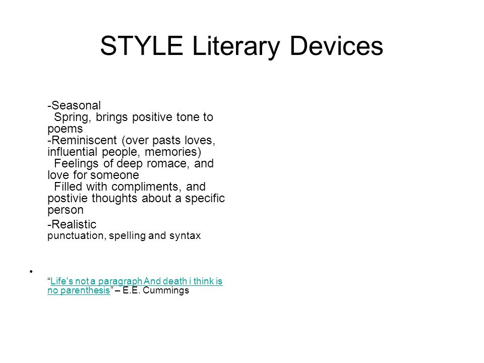 STYLE Literary Devices