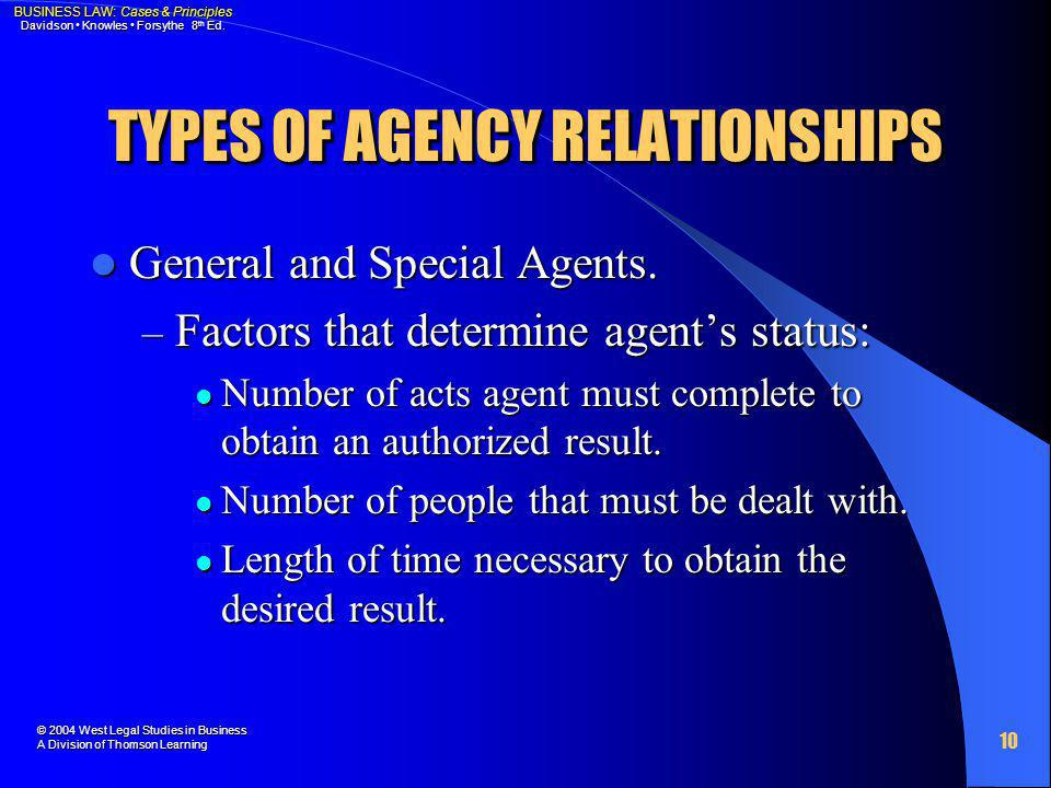 TYPES OF AGENCY RELATIONSHIPS