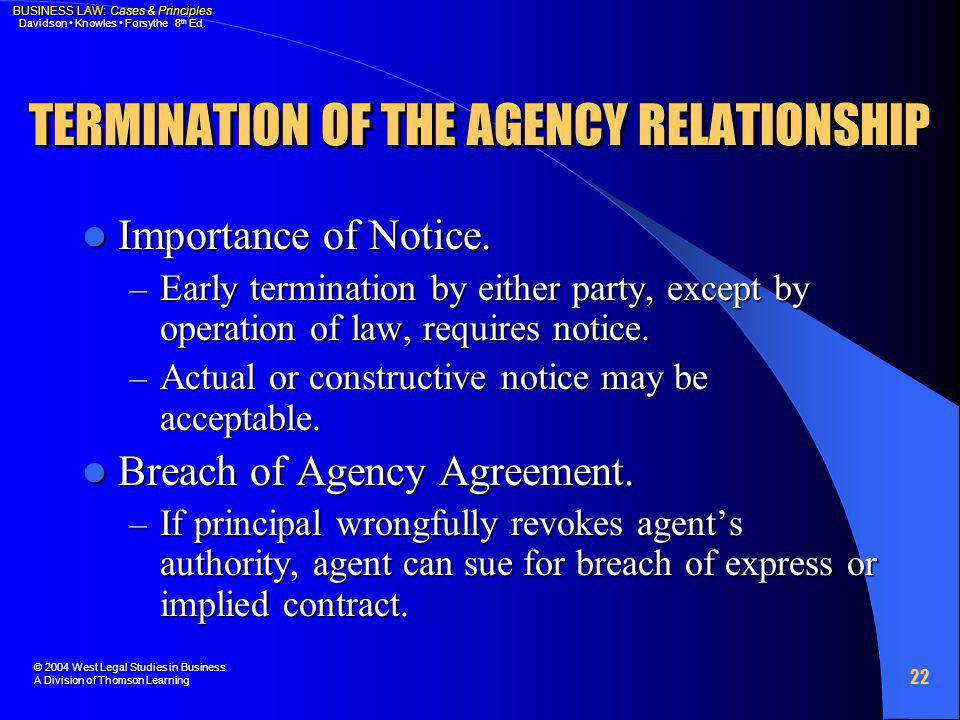 TERMINATION OF THE AGENCY RELATIONSHIP