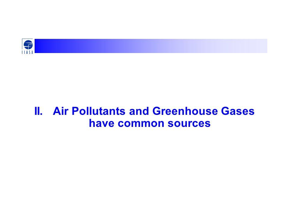 II. Air Pollutants and Greenhouse Gases have common sources
