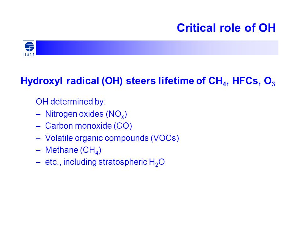 Critical role of OH Hydroxyl radical (OH) steers lifetime of CH4, HFCs, O3. OH determined by: Nitrogen oxides (NOx)