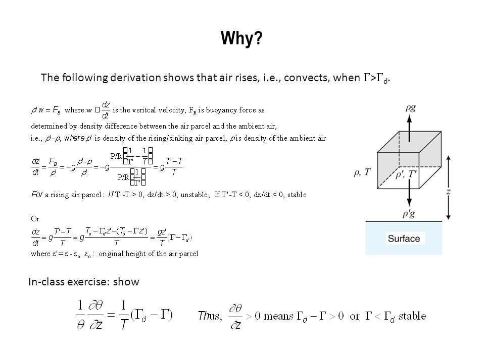 Why. The following derivation shows that air rises, i.e., convects, when G>Gd.