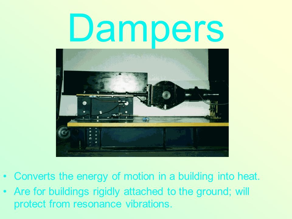 Converts the energy of motion in a building into heat.