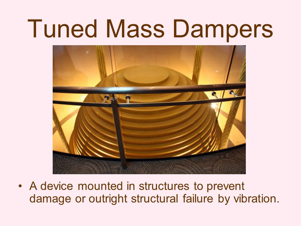 A device mounted in structures to prevent damage or outright structural failure by vibration.