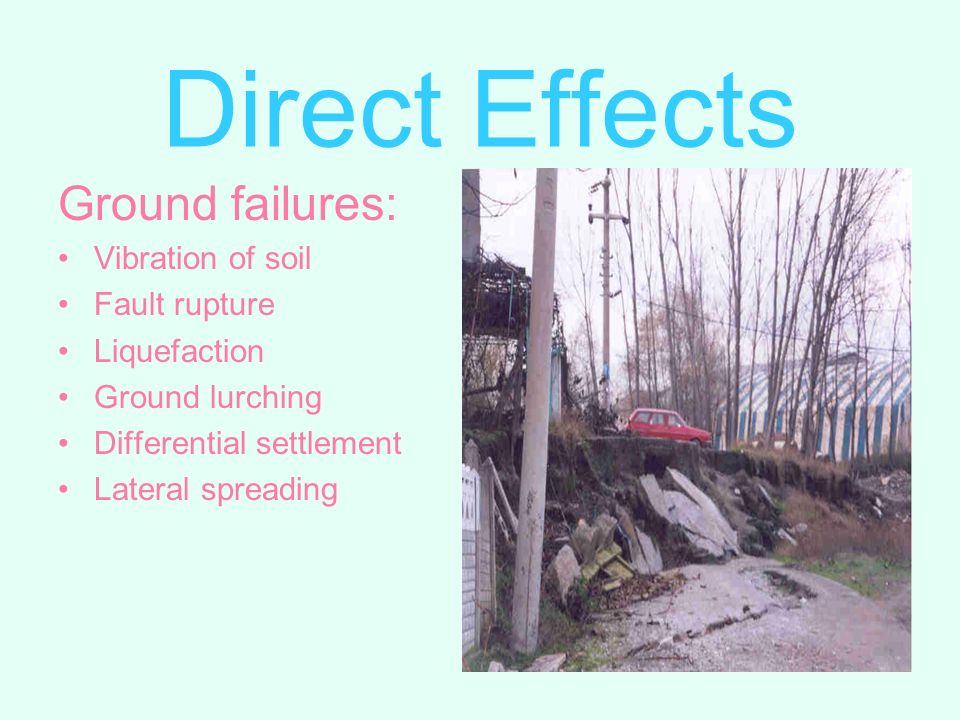 Ground failures: Vibration of soil Fault rupture Liquefaction