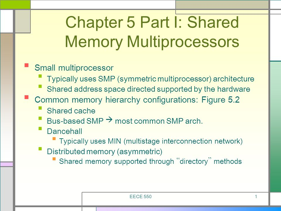 Chapter 5 Part I: Shared Memory Multiprocessors