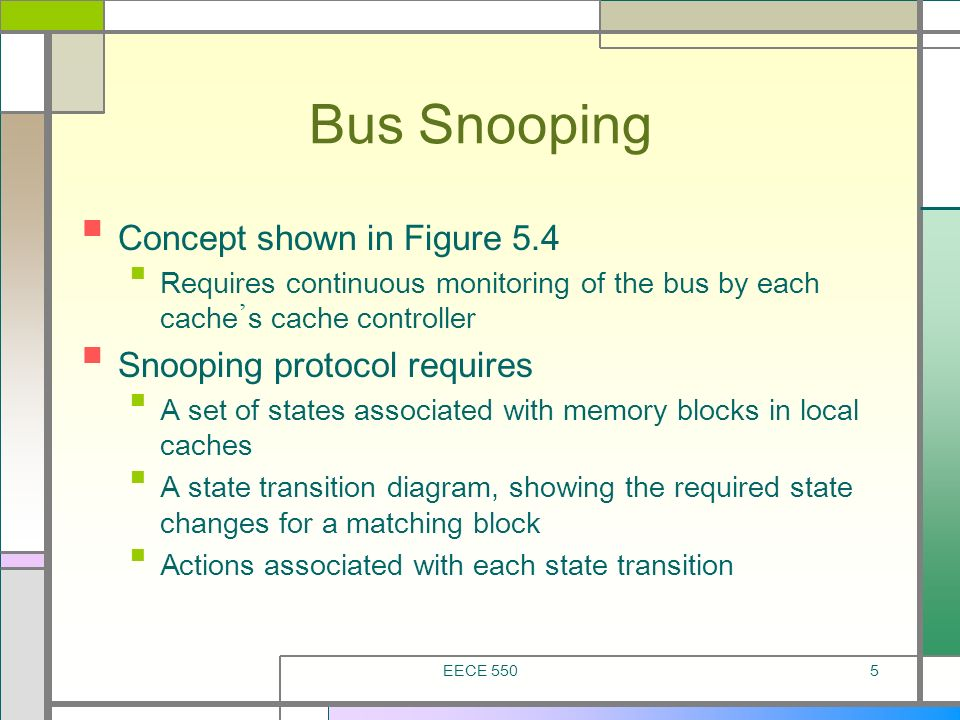 Bus Snooping Concept shown in Figure 5.4 Snooping protocol requires