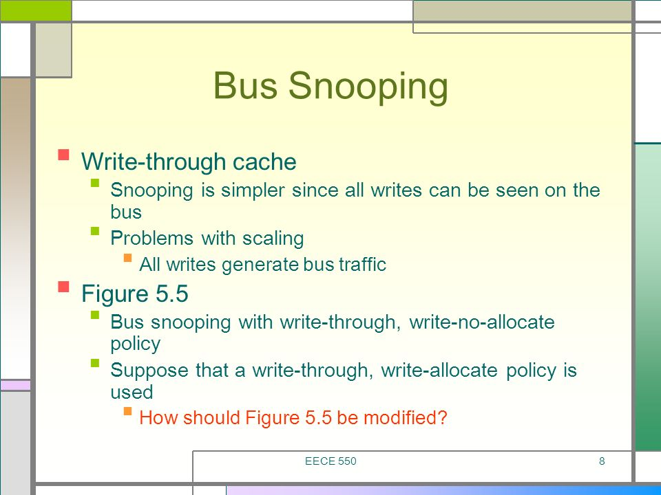 Bus Snooping Write-through cache Figure 5.5