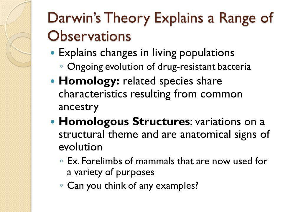 Darwin's Theory Explains a Range of Observations