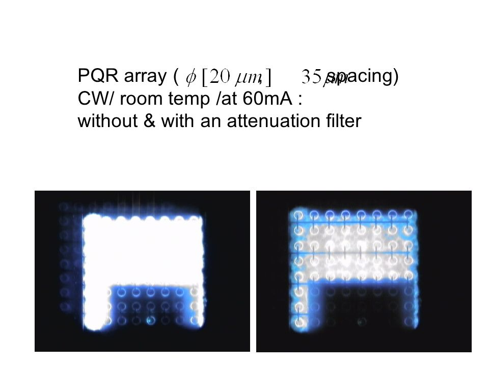 PQR array ( , spacing) CW/ room temp /at 60mA : without & with an attenuation filter.