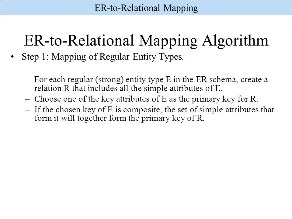 ER-to-Relational Mapping Algorithm