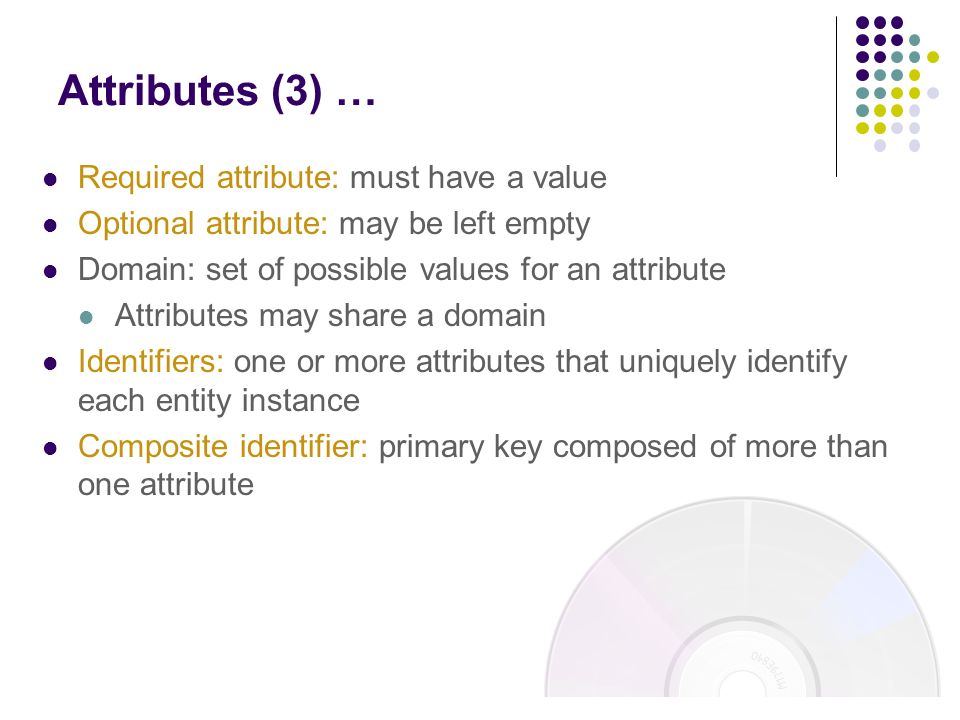 Attributes (3) … Required attribute: must have a value